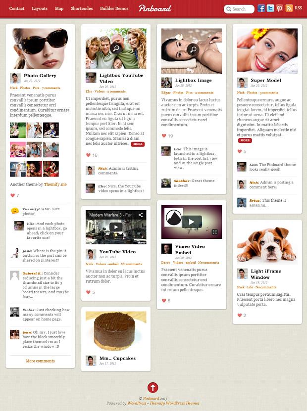 Das Pinboard WordPress Theme im Masonry Stil