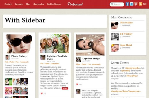 Pinboard: Ein vielseitiges WordPress Premium Theme im Masonry Stil