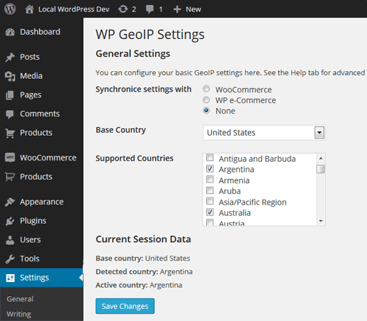 WordPress GeoIP Plugin