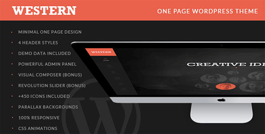 Western Minimal One Page WordPress Theme
