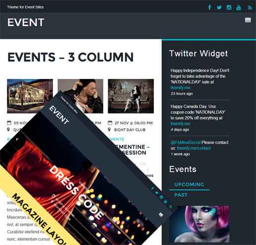 Event: Ein ultramodernes WordPress Theme von Themify