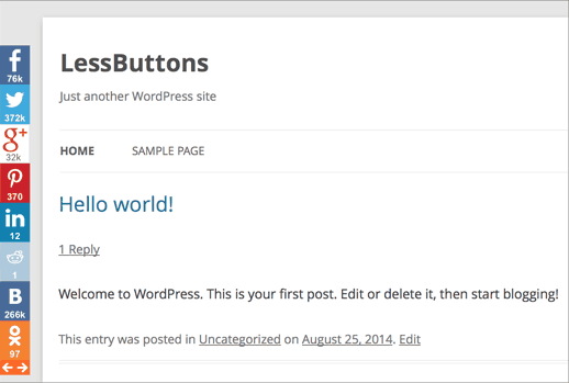 LessButtons Social Sharing and Statistics for WordPress