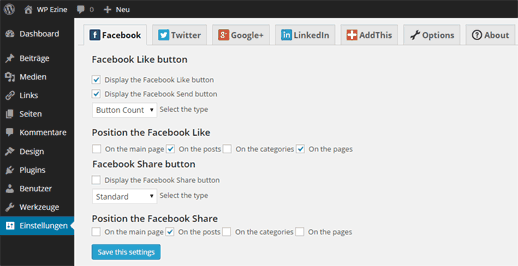 WP My Social Networks Plugin