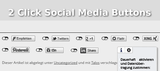 2 Click Social Media Buttons für mehr Datenschutz