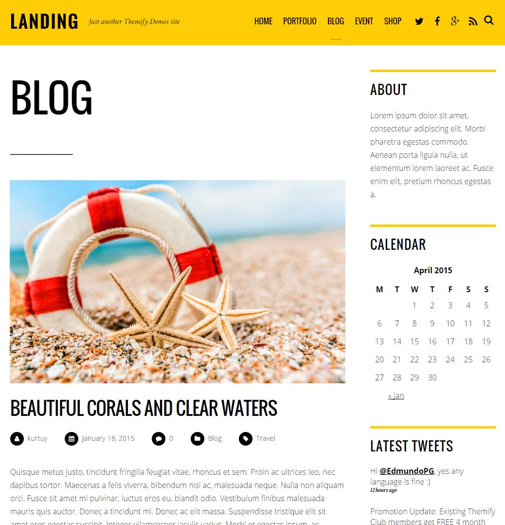 Landing Theme als Blog