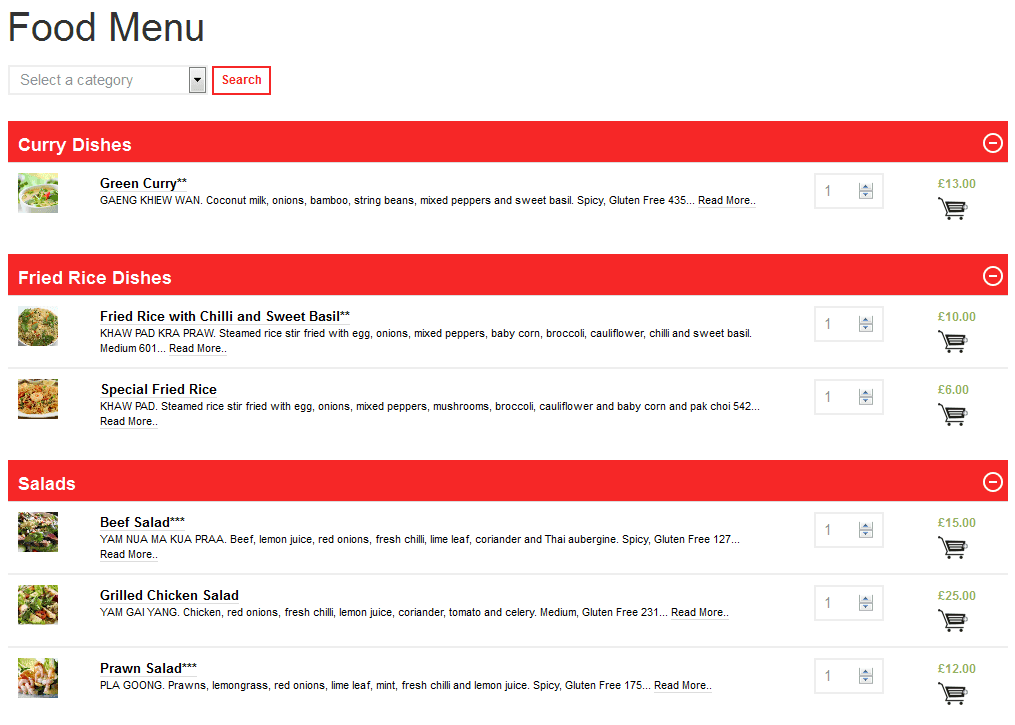 Food-Menu WooCommerce