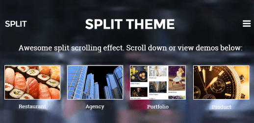 Split WordPress Theme mit Split-Scrolling